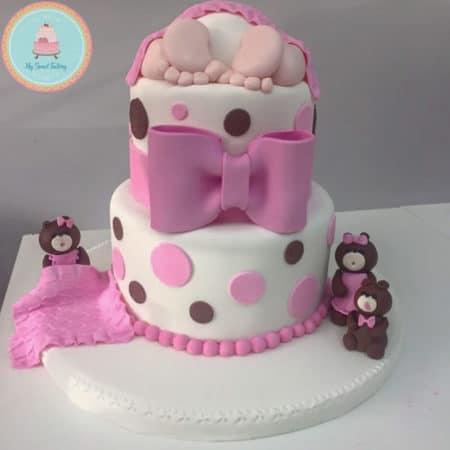 Torta baby Shower Niña Dormida con Osos