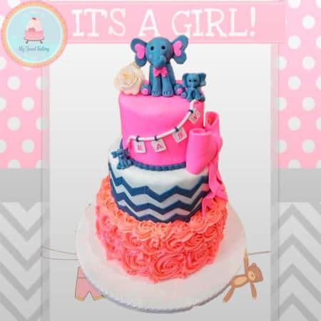 Torta Baby Shower Niña con Elefante