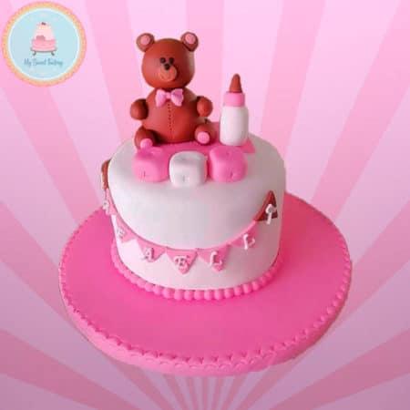 Torta Baby Shower Niña con Osito